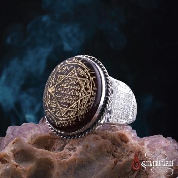 8 Köşe Mührü Süleyman Kenarları Hz. ALLAH Vefki Yemen Akik Taşlı Gümüş Yüzük - Thumbnail