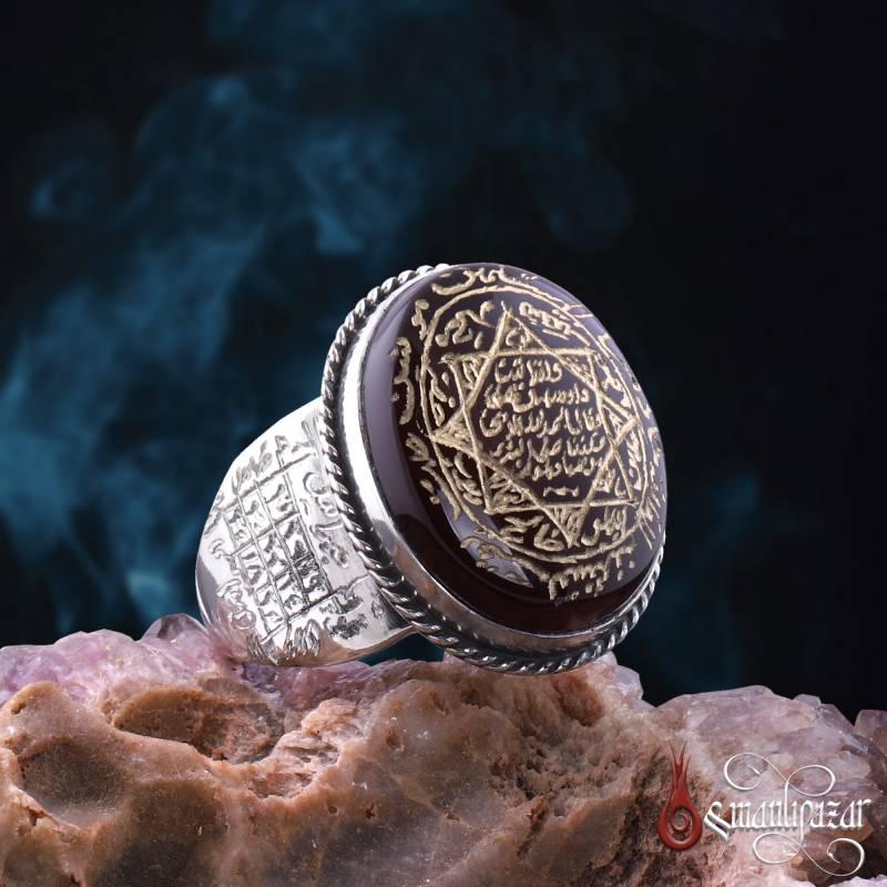 8 Köşe Mührü Süleyman Kenarları Hz. ALLAH Vefki Yemen Akik Taşlı Gümüş Yüzük