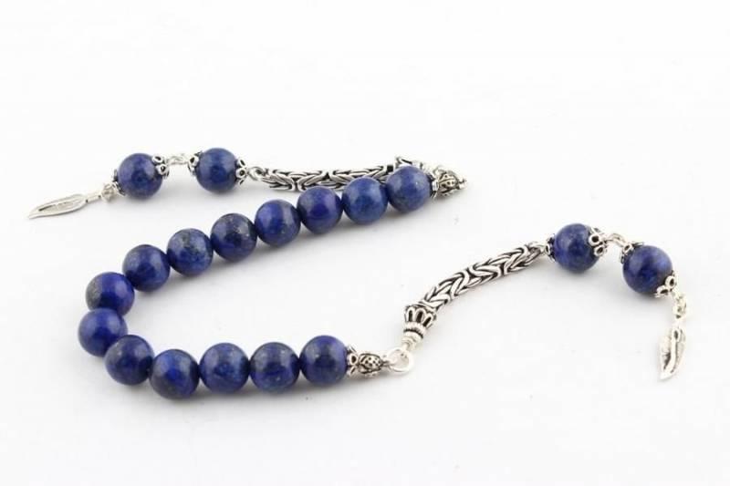 925 Ayar Gümüş Püskülü Lapis Lazuli Zaza Tesbih