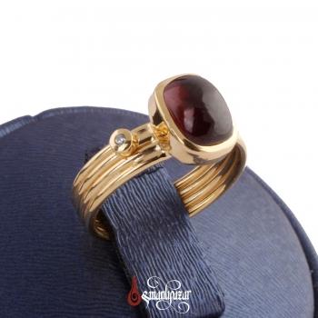 925 Ayar Orjinal Granat Taşlı Altın Kaplama Gümüş Yüzük - Thumbnail