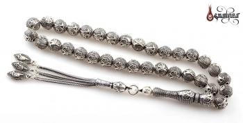 925 Ayar Tuğralı Gümüş Tesbih - Thumbnail