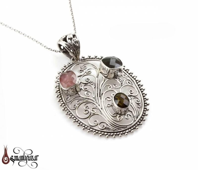 925 Ayar Turmalin Taşlı Gümüş Kolye