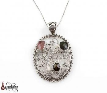 925 Ayar Turmalin Taşlı Gümüş Kolye - Thumbnail
