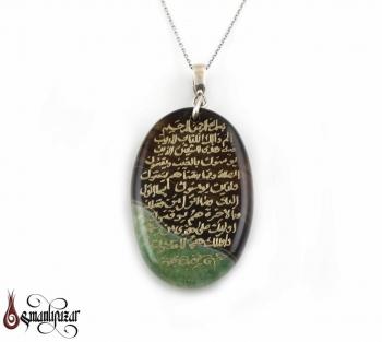 BAKARA Süresi (Elif, Lam Mim.) El Yazması 925 Ayar Gümüş Akik Kolye - Thumbnail