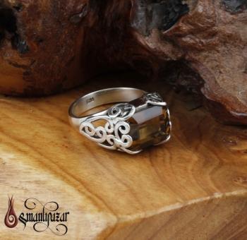 Bayan 925 Ayar Dumanlı Kuvars Taşlı Gümüş Yüzük - M2 - Thumbnail