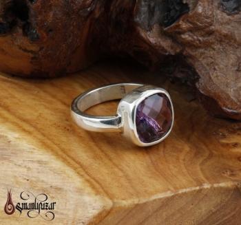 Bayan Ametist Taşlı 925 Ayar Gümüş Yüzük - Thumbnail