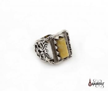 Damla Kehribar Taşlı Gümüş Yüzük - Thumbnail