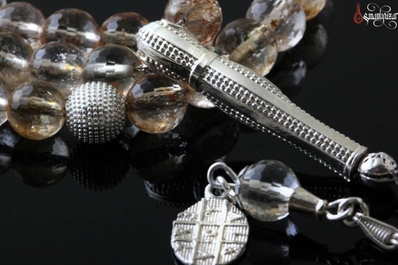 Doğal SİTRİN Taşlı Tesbih Gümüş imame Ve Püskül