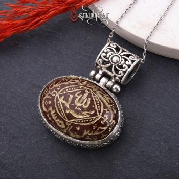 Ehlibeytin İsimleri Yazılı Akik Taşlı 925 Ayar Gümüş Kolye - Thumbnail