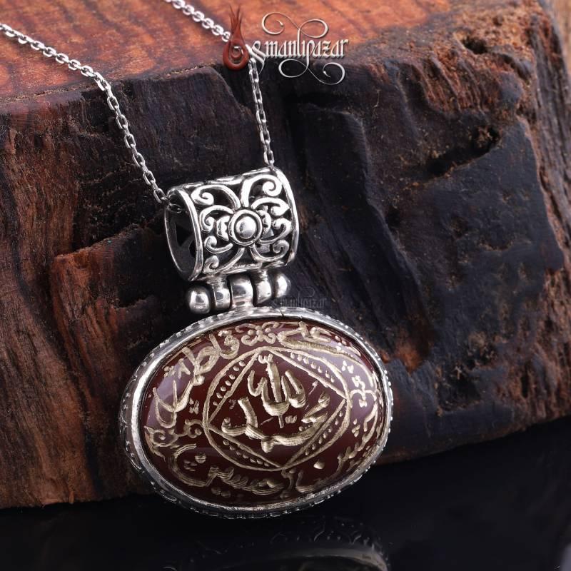 Ehlibeytin İsimleri Yazılı Akik Taşlı 925 Ayar Gümüş Kolye