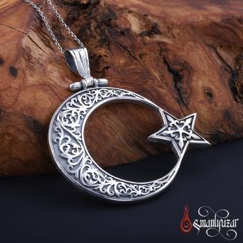 El İşi Gümüş Ay Yıldız Madalyon Tarzı Büyük Boy Kolye Ucu - Thumbnail
