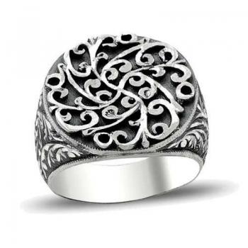 Erzurum El Kalem İşi 925 Ayar Gümüş Erkek Yüzük (M2) - Thumbnail