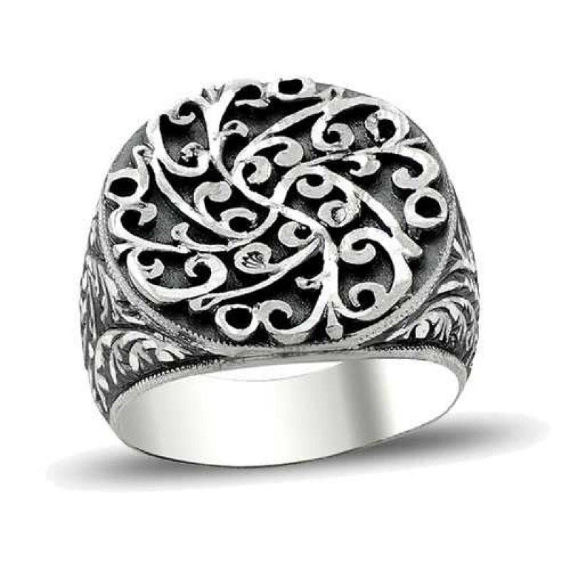 Erzurum El Kalem İşi 925 Ayar Gümüş Erkek Yüzük (M2)