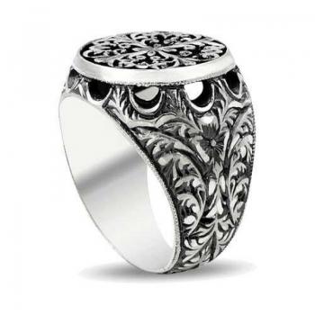 Erzurum El Kalem İşi 925 Ayar Gümüş Erkek Yüzük (M8) - Thumbnail