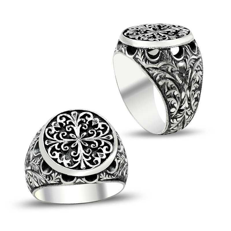 Erzurum El Kalem İşi 925 Ayar Gümüş Erkek Yüzük (M8)