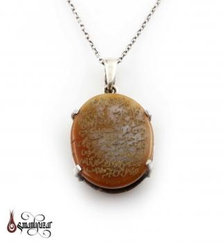 FELAK Ayeti Yazılı Yemen Akik Taşlı Gümüş Kolye - Thumbnail