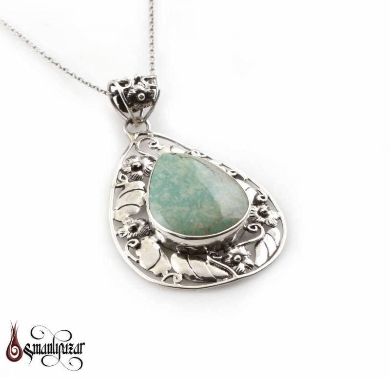 Firuze Taşlı Otantik Tasarım Bayan Gümüş Kolye - M2