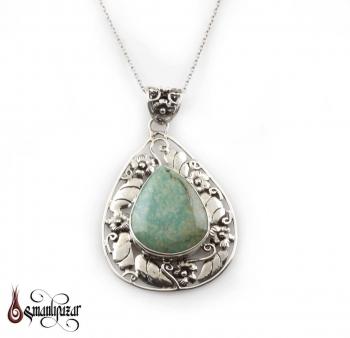 Firuze Taşlı Otantik Tasarım Bayan Gümüş Kolye - M2 - Thumbnail