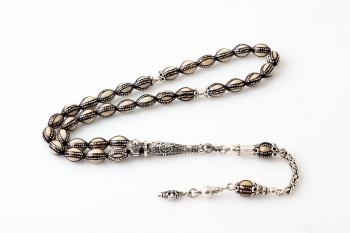 Gümüş işlemeli Mineli kuka 925 ayar gümüş imameli - Thumbnail
