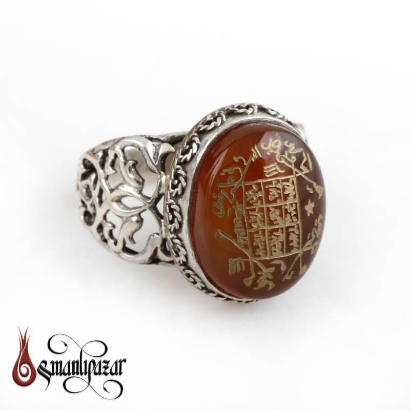 Hz. ALLAH Vefkli Orjinal Yemen Akik Taşlı 925 Ayar Gümüş Yüzük
