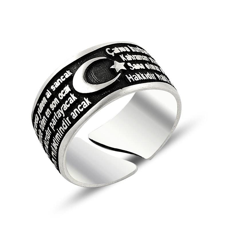İstiklal Marşı ve Ay Yıldızlı Gümüş Erkek Yüzüğü