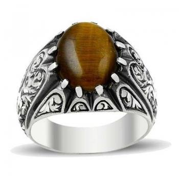 Kaplan Gözü Doğal Taşlı Erzurum El İşi Gümüş Yüzük(M1) - Thumbnail