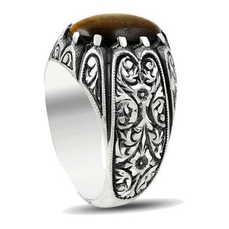 Kaplan Gözü Doğal Taşlı Erzurum El İşi Gümüş Yüzük(M1)