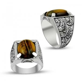 Kaplan Gözü Doğal Taşlı Erzurum El İşi Gümüş Yüzük(M4) - Thumbnail