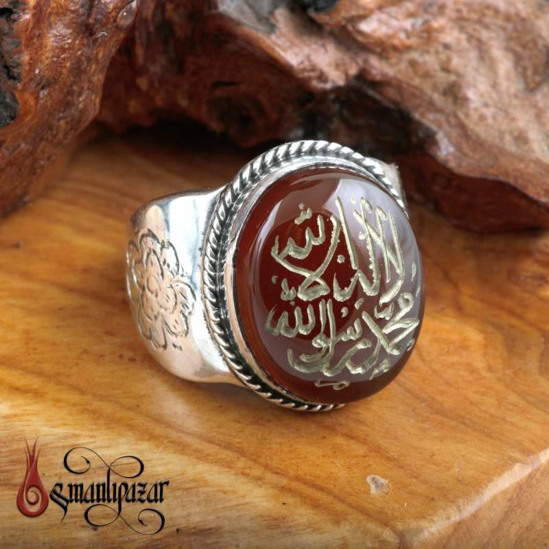 Kelime-i Tevhid Yazılı Orjinal Yemen Akik Taşlı Gümüş Yüzük