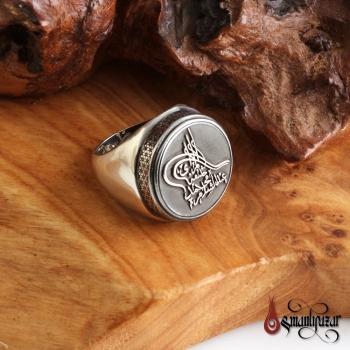 Kişiye Özel İsim Tuğralı 925 Ayar Gümüş Yüzük - Thumbnail