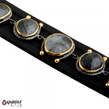 Labradorit Taşlı Altın Kaplama 925 Ayar Gümüş Bileklik - Thumbnail