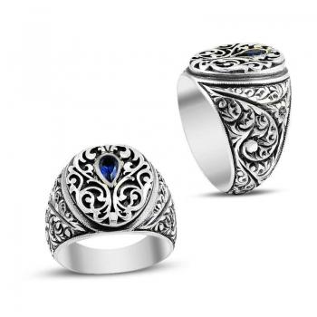Lacivert Zirkon Taşlı Kalemkar İşçiliği Gümüş Erkek Yüzüğü - Thumbnail