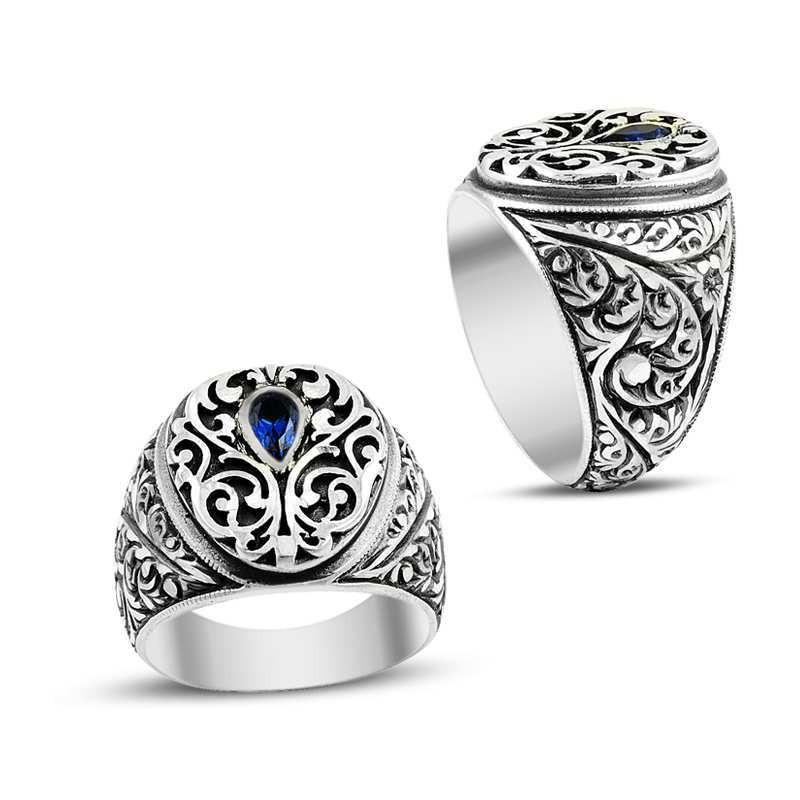 Lacivert Zirkon Taşlı Kalemkar İşçiliği Gümüş Erkek Yüzüğü