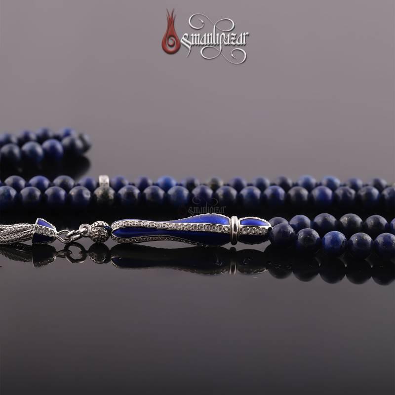Lapis Lazuli 99'lu 925 Ayar Gümüş imame ve Püsküllü