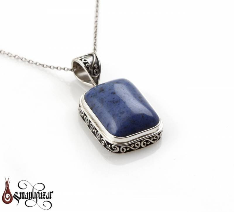 Lapis Lazuli Taşlı 925 Ayar Gümüş Kolye