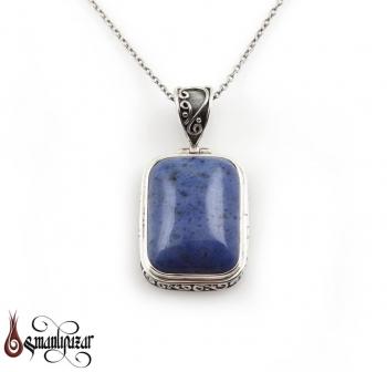 Lapis Lazuli Taşlı 925 Ayar Gümüş Kolye - Thumbnail