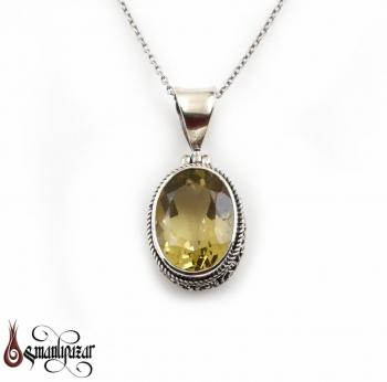 Limon Kuvars Taşlı 925 Ayar Gümüş Kolye - Thumbnail