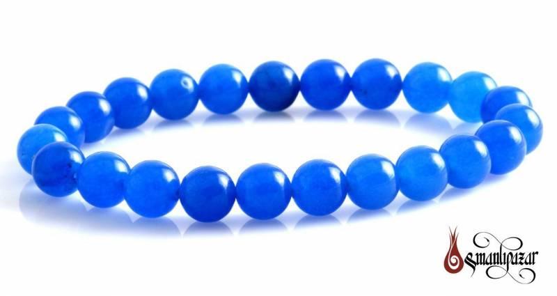 Mavi Akik Düz Kesim Bileklik
