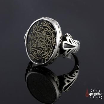 Mühr-ü Süleyman 6 Köşeli Siyah Akik Taşlı Gümüş Yüzük - Thumbnail