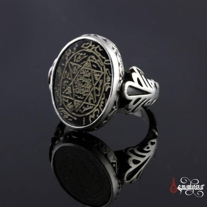 Mühr-ü Süleyman 6 Köşeli Siyah Akik Taşlı Gümüş Yüzük