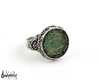 Mühr-ü Süleyman Yeşil Akik Taşlı 925 Ayar Gümüş Yüzük - Thumbnail