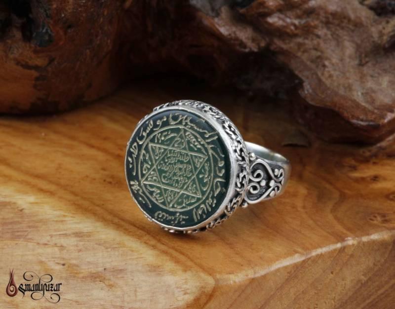 Mühr-ü Süleyman Yeşil Akik Taşlı 925 Ayar Gümüş Yüzük