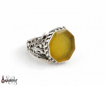 Mührü Süleyman 8 Köşe Taşlı 925 Ayar Gümüş Yüzük - Thumbnail