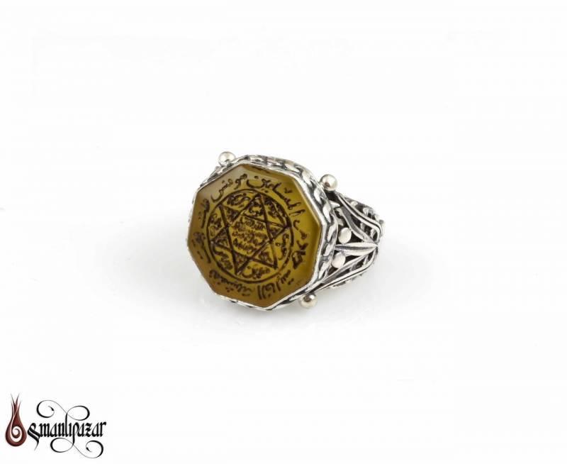 Mührü Süleyman 8 Köşe Taşlı 925 Ayar Gümüş Yüzük
