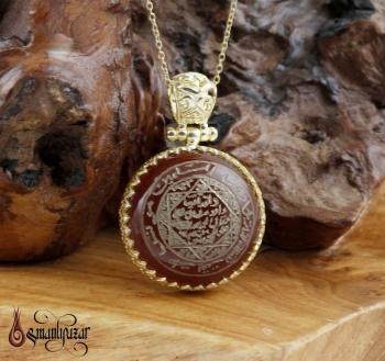 Mührü Süleyman EL Yazması ALTIN Kaplama Gümüş Kolye - Thumbnail