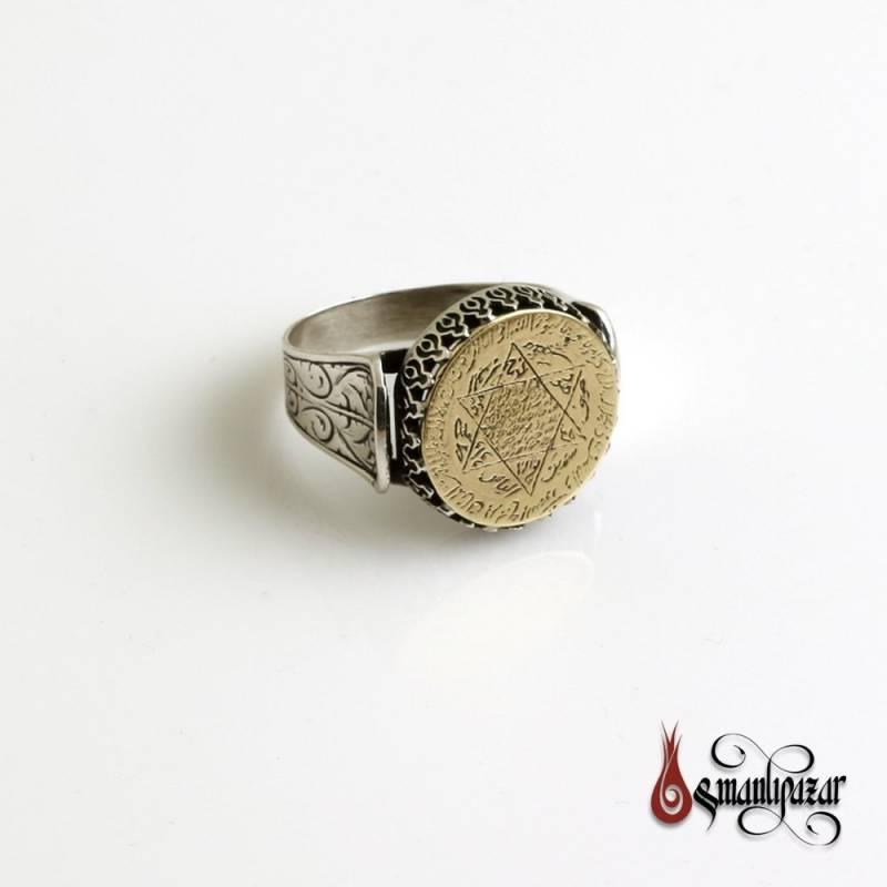 Mührü Süleyman - PİRİNÇ Plaka Üzerine Tamamı El Yazması 925 Ayar Gümüş Yüzük