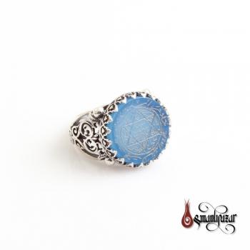 Mührü Süleyman - Tamamı El Yazması 925 Ayar Gümüş Yüzük Mavi Akik Taşlı - Thumbnail