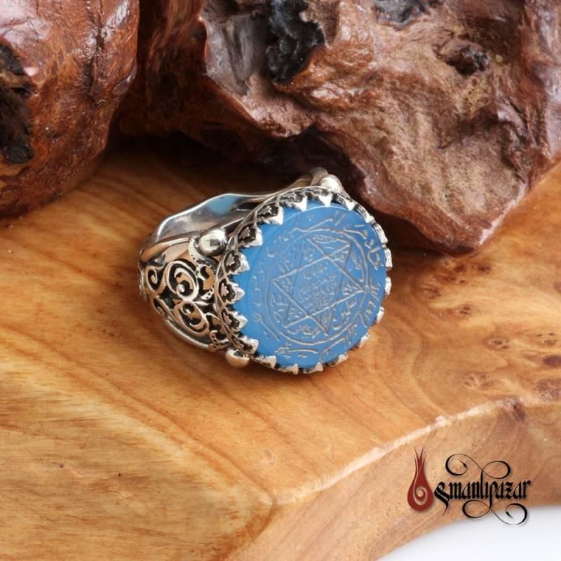 Mührü Süleyman - Tamamı El Yazması 925 Ayar Gümüş Yüzük Mavi Akik Taşlı