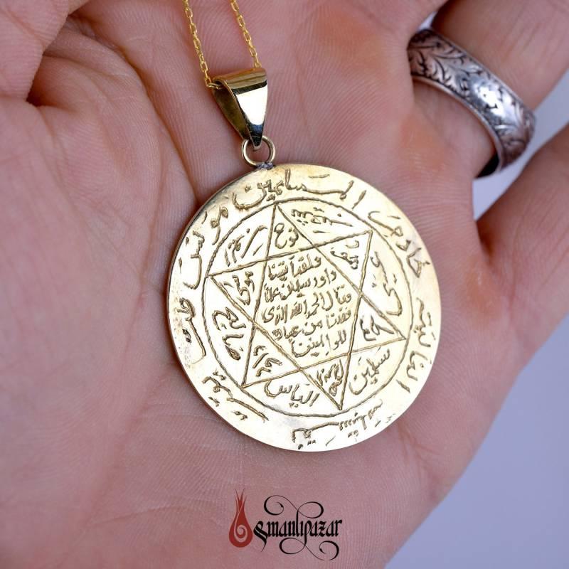 Mührü Süleyman - Tamamı El Yazması BRONZ (Pirinç) Kolye