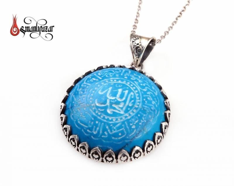 NAZAR Duası Yazılı Ortasında ALLAH MUHAMMED Yazılı Turkuaz Taşlı Gümüş Kolye